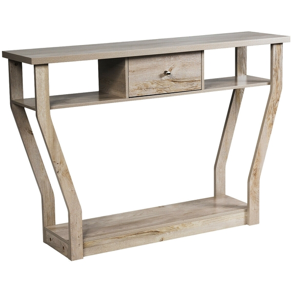 Modern Sofa Accent Table With Drawer-Gray HW60291GR