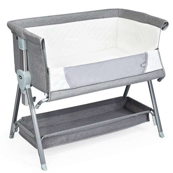 Adjustable Baby Bedside Crib With Large Storage-Gray BB5544GR