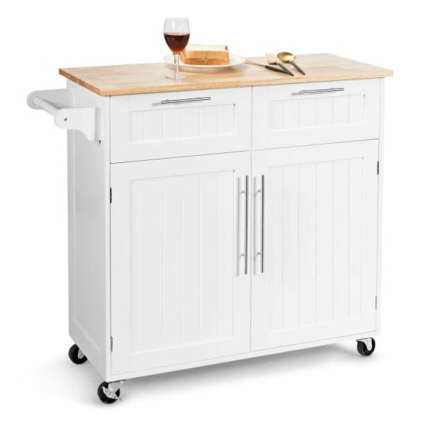 Heavy Duty Rolling Kitchen Cart-White HW55461WH
