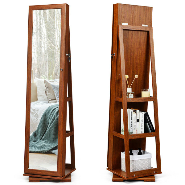 360° Rotatable Armoire 2-In-1 Lockable Mirrored Jewelry Cabinet-Brown HW64483BN