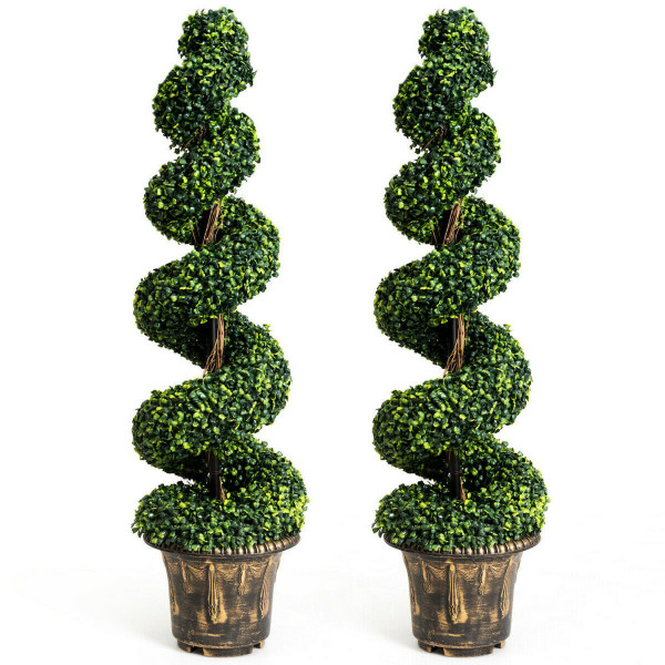2-Set 4' Artificial Decor Green Boxwood Spiral Tree HW61436-2