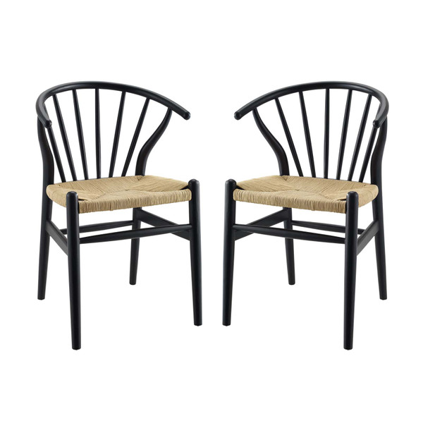 Modway Flourish Spindle Wood Dining Side Chair Set Of 2 EEI-4168-BLK