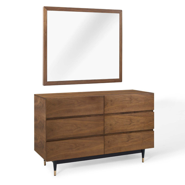 Modway Caima Dresser With Mirror - Walnut MOD-6291-WAL-SET