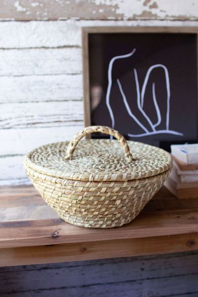 Seagrass Basket With Lid And Handle A6290 By Kalalou