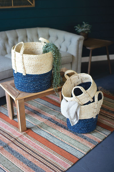 Set Of Three Braided Maize Rope Baskets With Blue Bottom CCH1146 By Kalalou