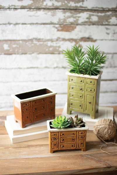 Set Of Three Ceramic Chest Of Drawers Planters CDV2057 By Kalalou
