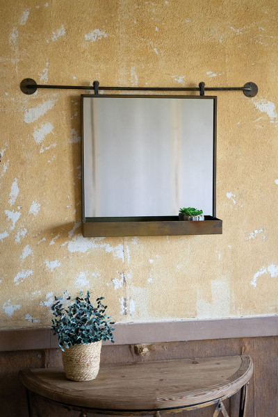 Rolling Wall Mirror With Tray CLA1280 By Kalalou