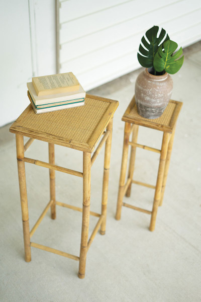 Set Of Two Nesting Bamboo Pedestals CNMR1050 By Kalalou