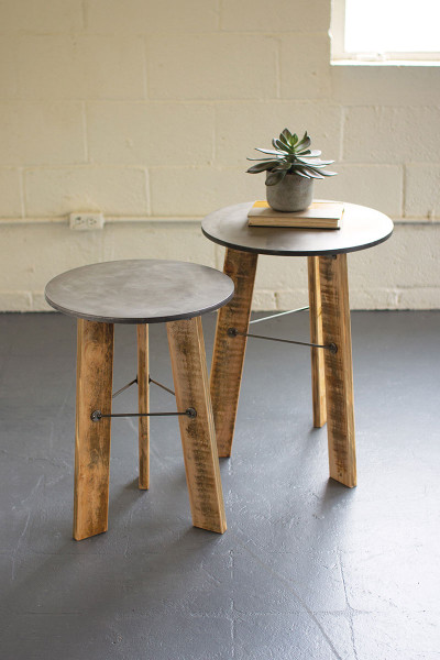 Set Of Two Round Side Tables W Metal Top & Recycled Wooden Legs CQ7526 By Kalalou