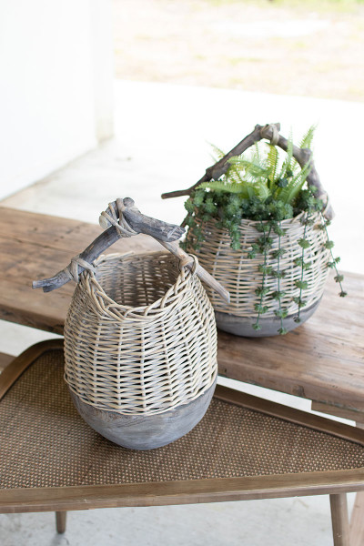 Set Of Two Repurposed Wood And Willow Baskets CQY1010 By Kalalou