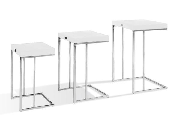 A&X Amelia - Modern White Crocodile Lacquer Nesting Table Set VGUNAK855-35 By VIG Furniture
