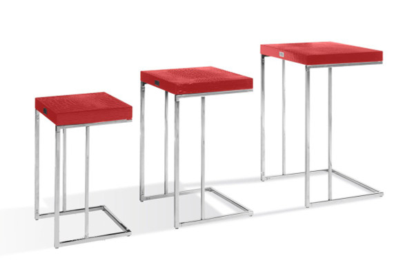 A&X Amelia - Modern Red Crocodile Lacquer Nesting Table Set VGUNAK855-RED By VIG Furniture
