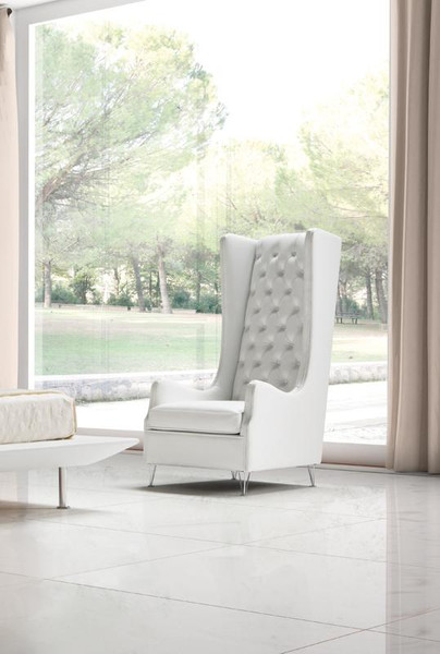 Estro Salotti Vanity Modern White Leather Lounge Chair VGNT-SP-VANITY By VIG Furniture