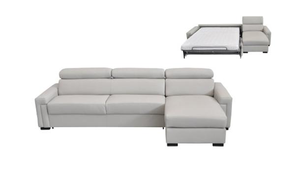Estro Salotti Sacha Modern Light Grey Leather Reversible Sofa Bed Sectional W/ Storage VGNTSACHA-E3018 By VIG Furniture