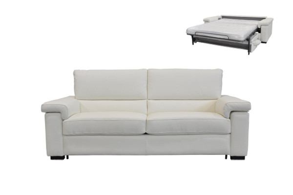 Estro Salotti Spock Italian Modern White Leather Large Sofa Bed VGNTSPOCK-MAXI-E544 By VIG Furniture