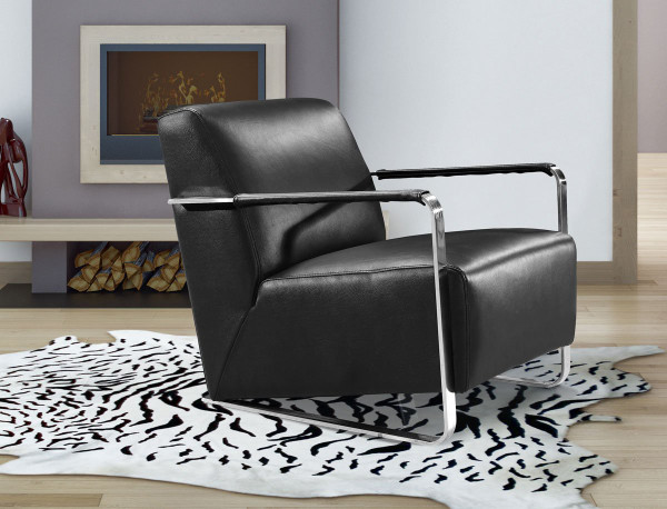 Divani Casa Bison Modern Black Leather Lounge Chair VG2T0729-BLK-HL By VIG Furniture