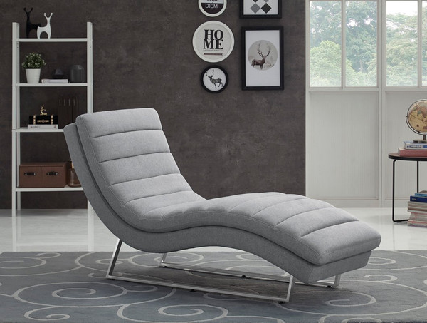 Divani Casa Auburn Modern Contemporary Plush Grey Fabric Lounge Chaise VGMB-1820-GRY By VIG Furniture