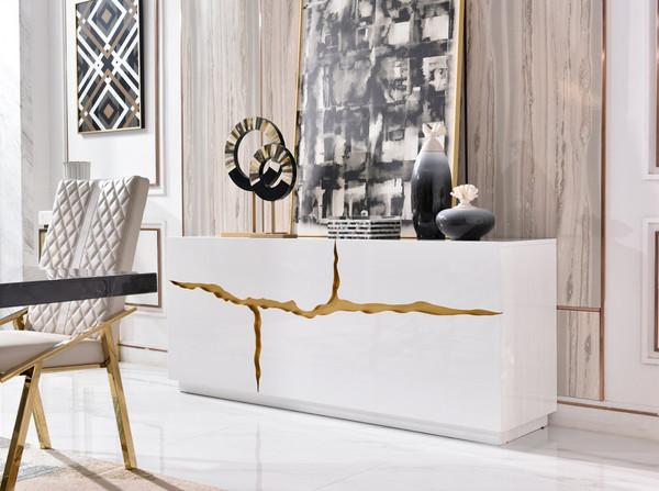 Modrest Aspen Modern White & Gold Buffet VGVCG1808-WHT By VIG Furniture