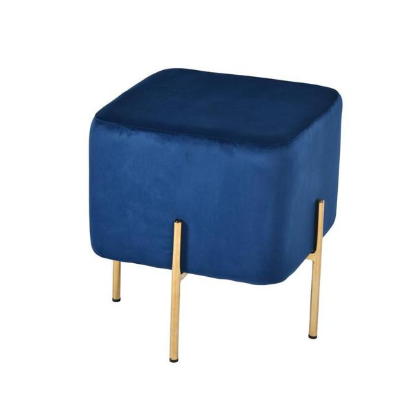 Modrest Daphne Modern Blue Velvet & Gold Ottoman VGFHFDC8015-BLU By VIG Furniture