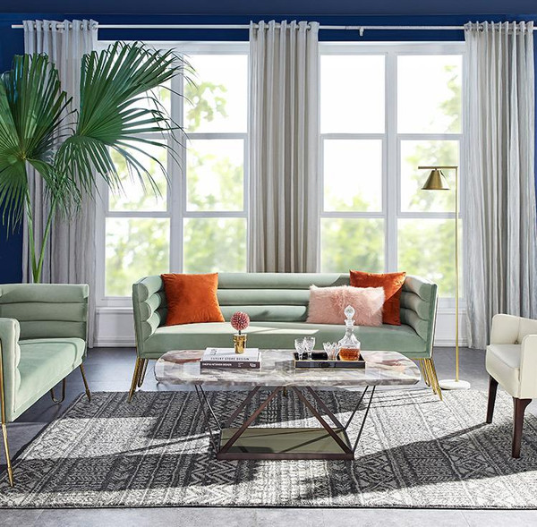 Divani Casa Bixby Modern Light Green Velvet & Gold Sofa VGCA1105-SOFA-GRN By VIG Furniture