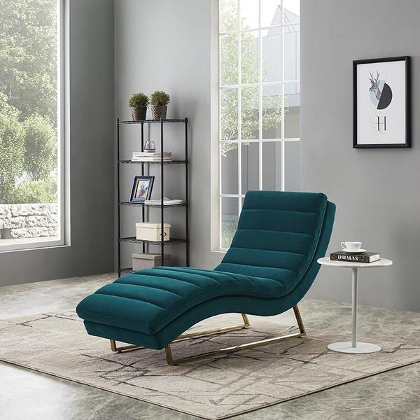Divani Casa Auburn Modern Green Velvet Lounge Chaise VGMB-1820-GRN By VIG Furniture