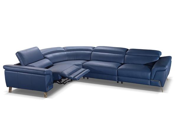 Accenti Italia Azur Italian Modern Blue Leather Sectional W/ Recliner VGDDAZUR-SECT-BLU By VIG Furniture
