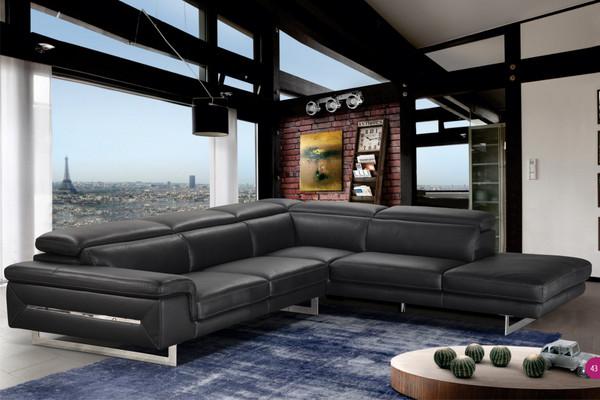 Accenti Italia Lazio- Italian Black Leather Sectional Sofa VGDDVELVET By VIG Furniture