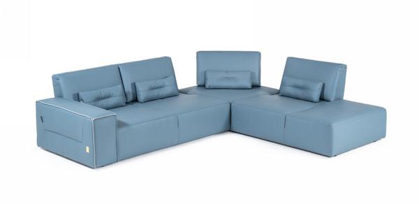 Accenti Italia Enjoy - Modern Italian Blue Leather Sectional Sofa VGDDENJOY-BLUE By VIG Furniture