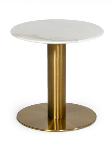 Modrest Fairway - Glam White Marble And Brushed Gold End Table VGEUMC-6931ET By VIG Furniture