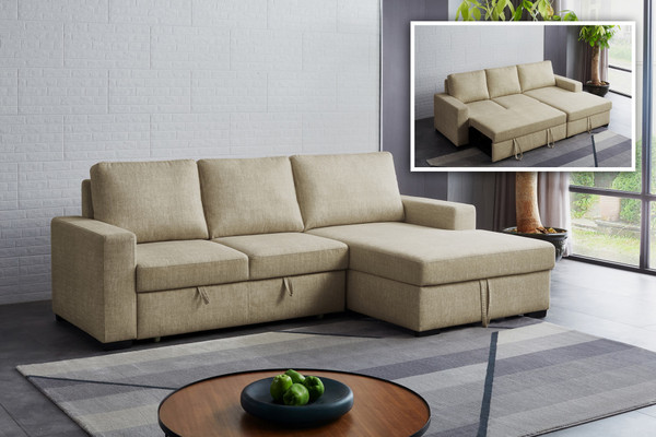Divani Casa Nebula - Modern Beige Fabric Sofa Bed VGMB-1893 By VIG Furniture
