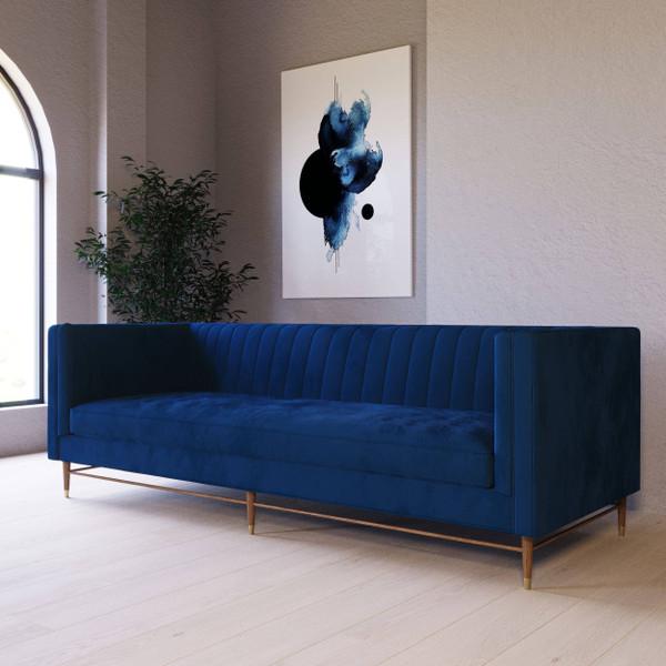 Divani Casa Miramar - Modern Blue Velvet Sofa VGUIMY508 By VIG Furniture