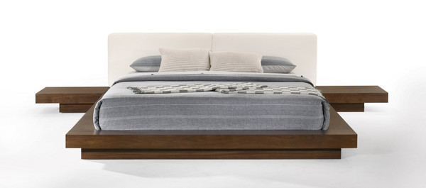 Modrest Tokyo - Contemporary Walnut And White Platform Bed VGMABR-90-WAL-WHT By VIG Furniture