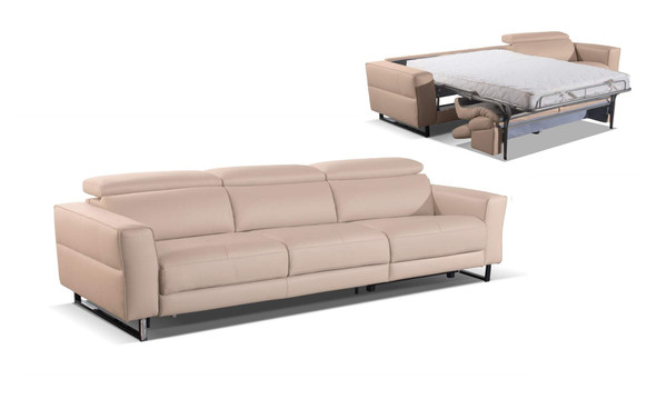 Accenti Italia Snooker - Modern Leather Grey - White Sofa Bed With Recliner VGDDSNOOKER By VIG Furniture