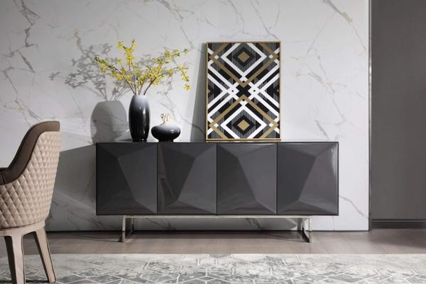Modrest Vanguard - Modern Dark Grey High Gloss Buffet VGVCG1108-BUF-GRY By VIG Furniture