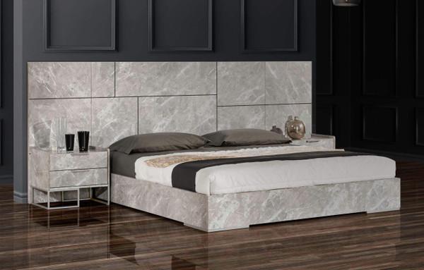 Nova Domus Marbella - Italian Modern Grey Marble Bed W/ 2 Nightstands VGACMARBELLA-GRY-BED By VIG Furniture