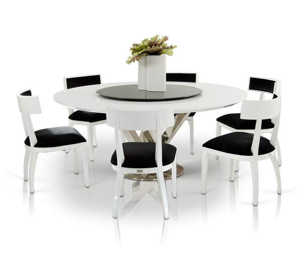A&X Spiral - Modern Round White Dining Table With Lazy Susan By VIG Furniture