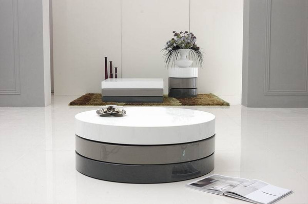 Modrest Trio-3 - Lacquer 3-Tone Round Coffee Table By VIG Furniture