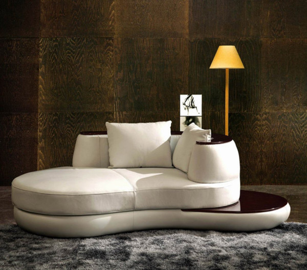 Divani Casa Rodus - Rounded Leather Chaise With Wood Trim By VIG Furniture