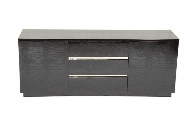A&X Skyline Modern Black Crocodile Lacquer Buffet By VIG Furniture