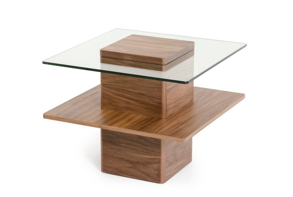 Modrest Clarion Modern Walnut And Glass End Table By VIG Furniture