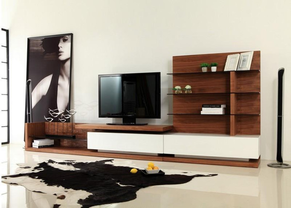 Modrest Jefferson Modern Walnut And White High Gloss Tv Unit By VIG Furniture