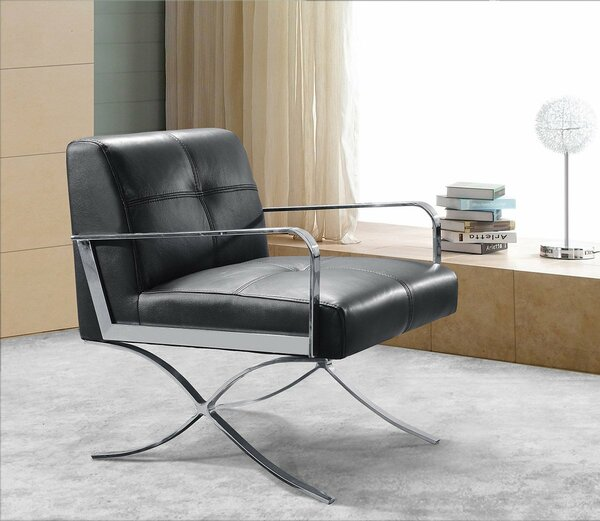 Divani Casa Delano Modern Black Leather Lounge Chair By VIG Furniture