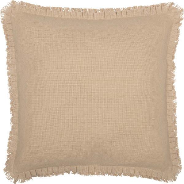 VHC Burlap Vintage Fabric Euro Sham W/ Fringed Ruffle 26X26 45818
