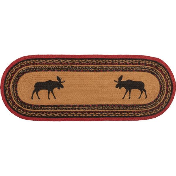 VHC Cumberland Stenciled Moose Jute Runner Oval 13X36 37869
