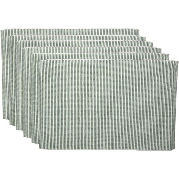 VHC Ashton Green Ribbed Placemat Set Of 6 12X18 38551