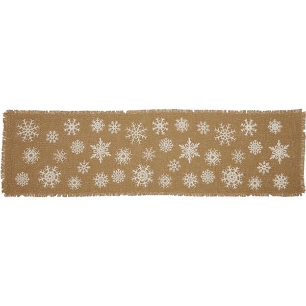 VHC Snowflake Burlap Natural Runner 13X48 57391