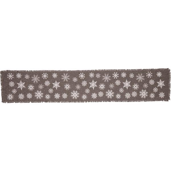 VHC Snowflake Burlap Grey Runner 13X72 57381