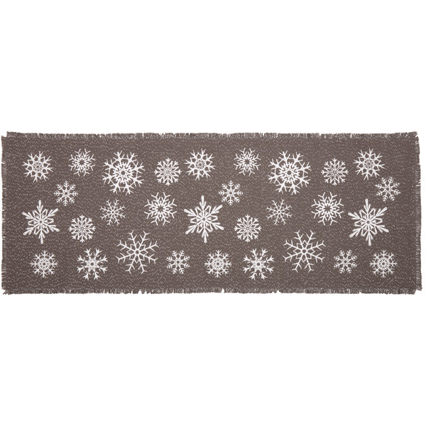 VHC Snowflake Burlap Grey Runner 13X36 57379
