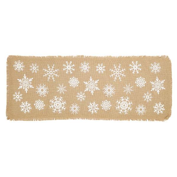 VHC Snowflake Burlap Natural Runner 13X36 26621
