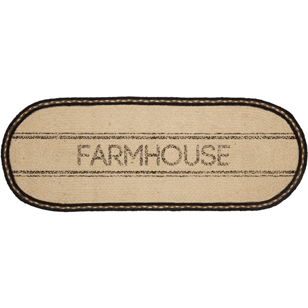 VHC Sawyer Mill Charcoal Farmhouse Jute Runner 13X36 38029
